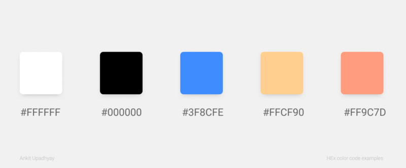 ui ux design : various examples of HEX color code examples