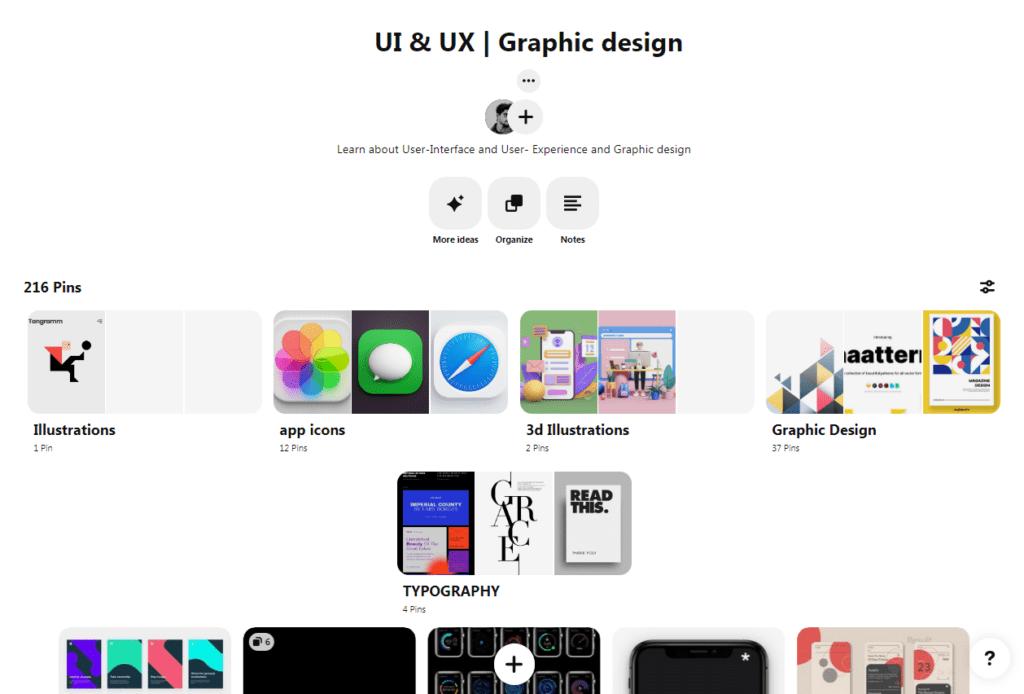 An image showing Pinterest UI\UX design board for inspiration