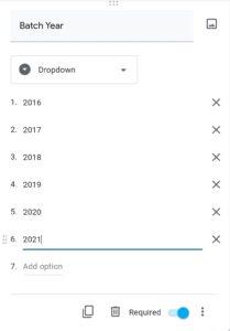 Google form : Making a batch year field