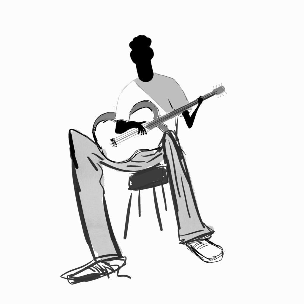 imagining playing guitar